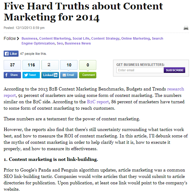 five hard truths about content marketing for 2014