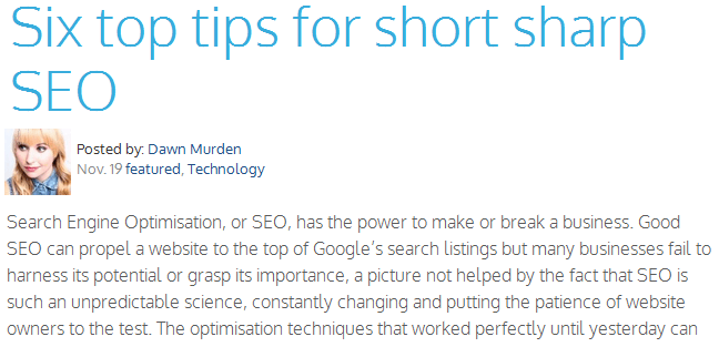 six tops tips for short sharp seo