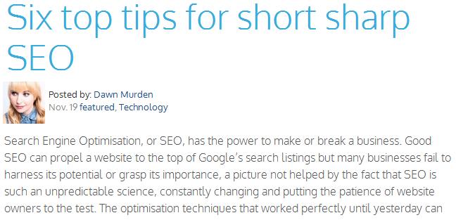 six tops tips for short sharp seo