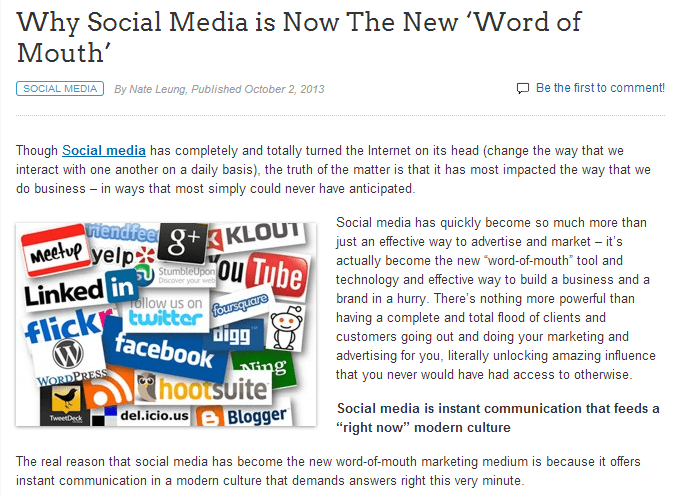 why social media is now the new word of mouth