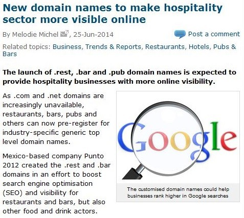 new domain names to make hospitality sector more visible online