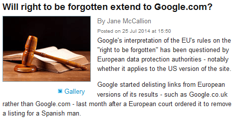 will right to be forgotten extend to google