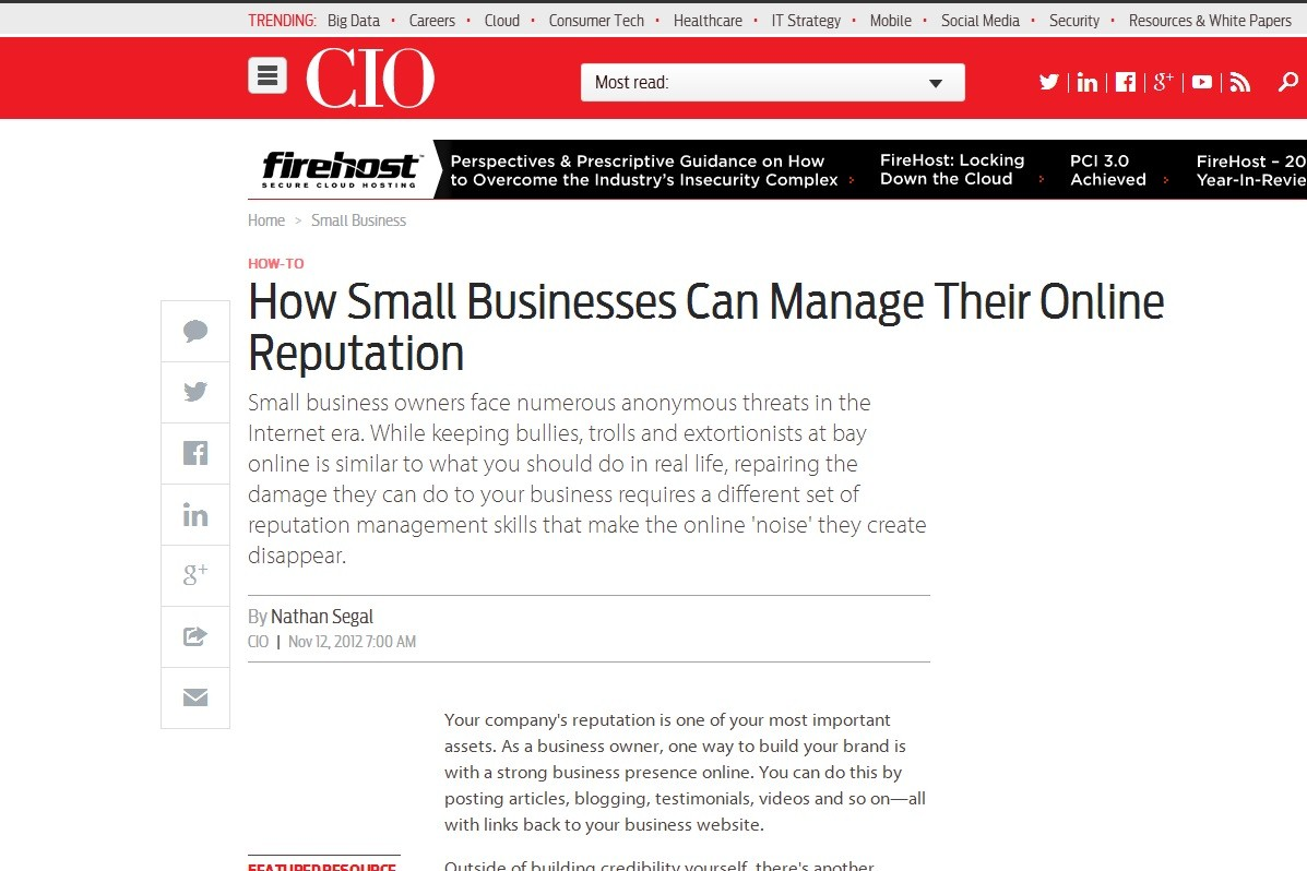how small businesses can manage their online reputation