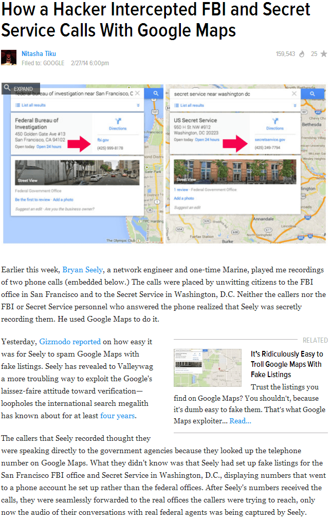 how a hacker intercepted FBI and secret service calls with google maps