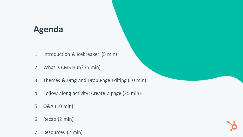 Agenda Creating Pages CMS Hub