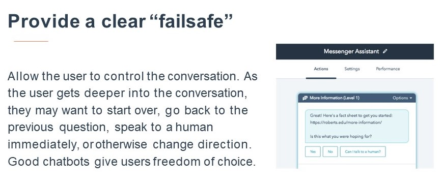Chatbot Provide Clear Failsafe