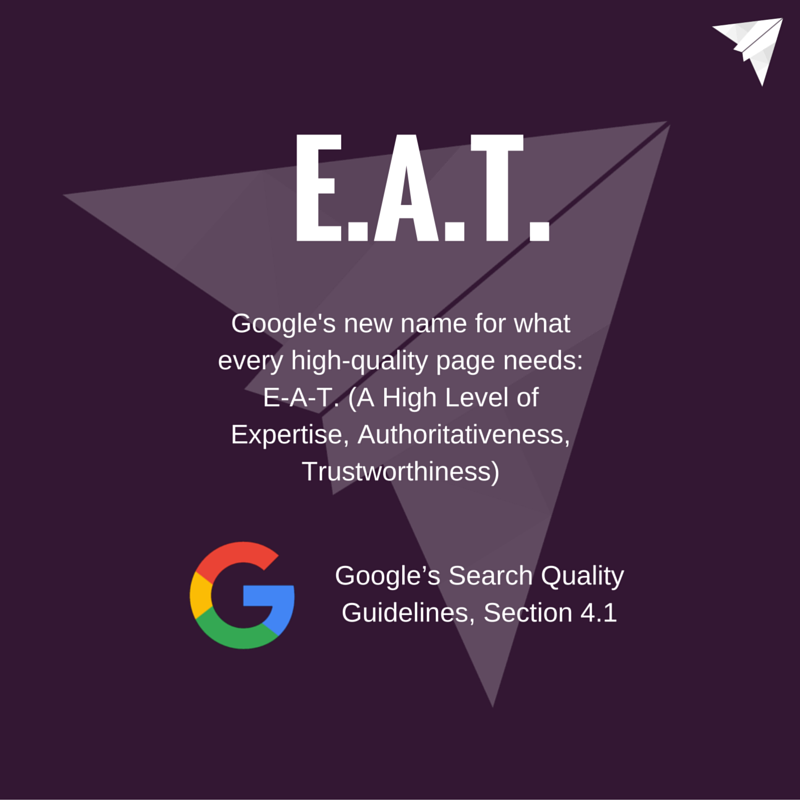 Google EAT Expertise, Authoritativeness, Trustworthiness