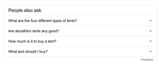 Google people also ask - tent