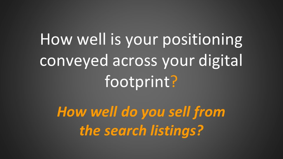How well do your positioning conveyed across digital footprint