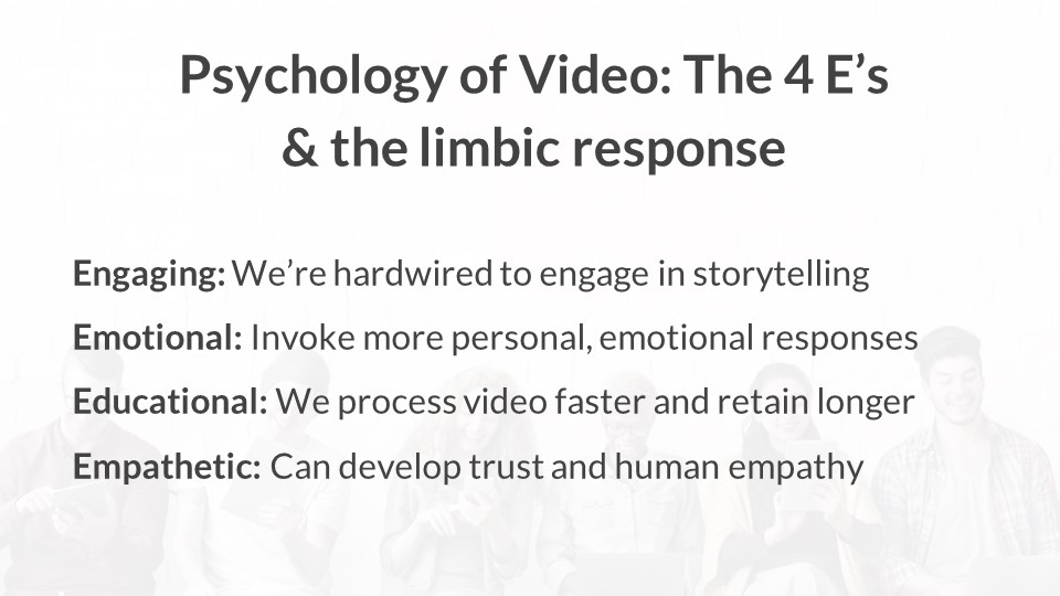 The 4 e's and the limbic response to video