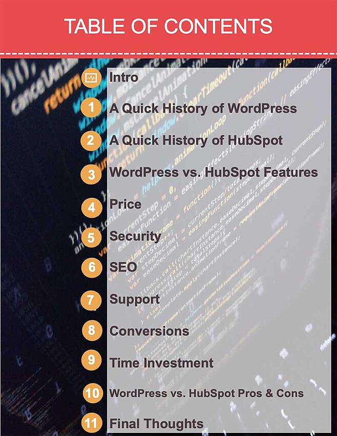 How To Choose A CMS - Table Of Contents