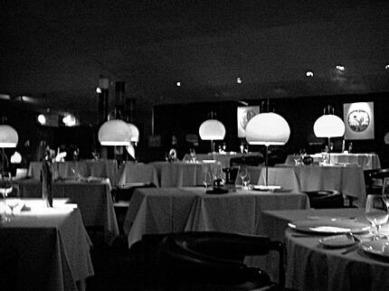 Restaurant in black and white with round lights