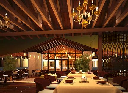 Beautiful wooden restaurant