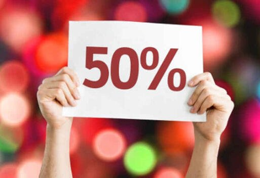 Sign showing 50 percent