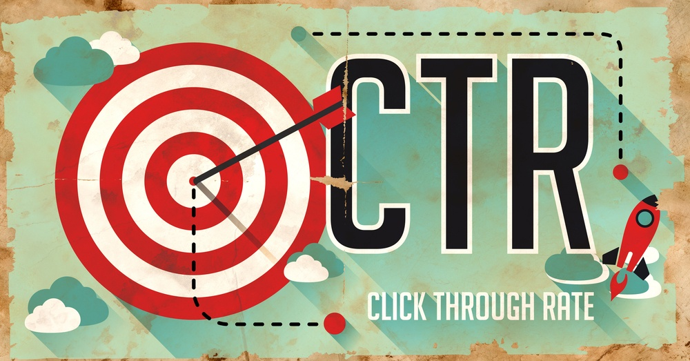 CTR - Click Through Rate - Concept. Poster on Old Paper in Flat Design with Long Shadows.