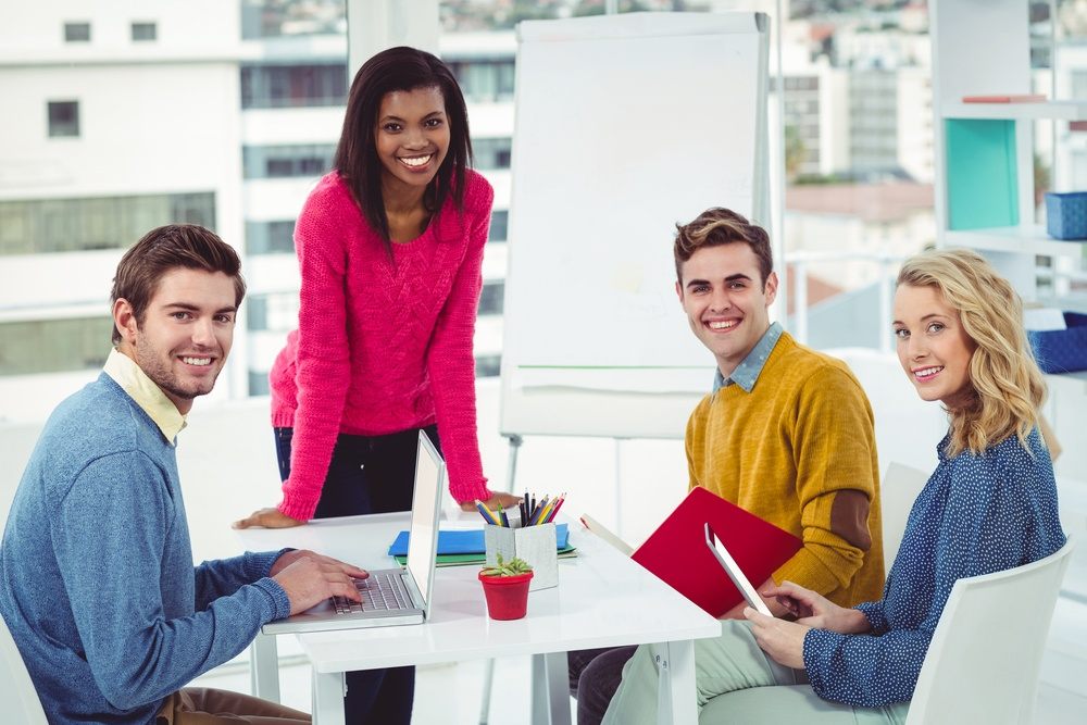Creative marketing agency working together in casual office