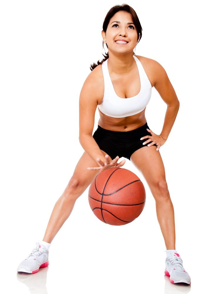 Bounce rate shown by a female basketball player bouncing the ball