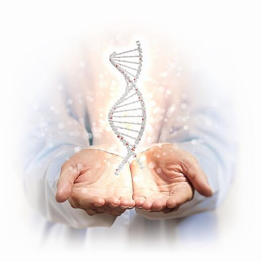 Image of DNA strand against background with human hands.jpeg