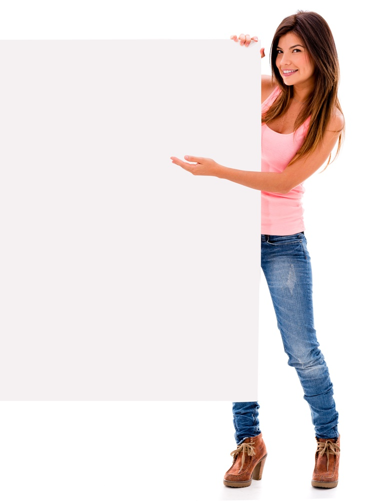 PPC banner ads: A Woman holding a banner ad