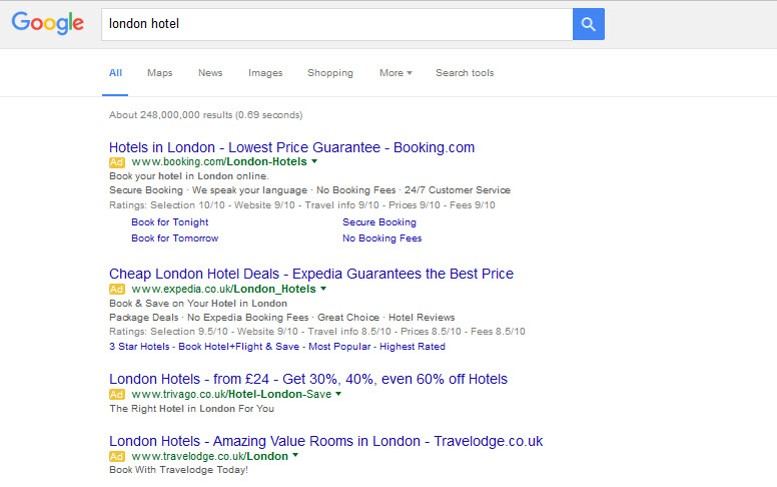 Google search For Hotel Information