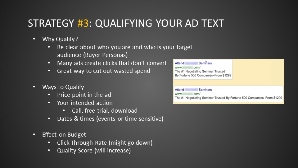 Strategy #3: Qualifying Your Ad Text