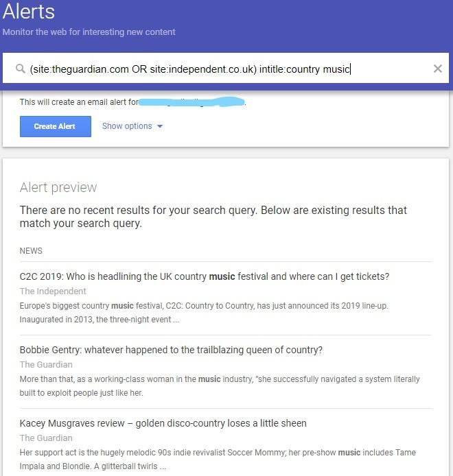 Google alert Target topics