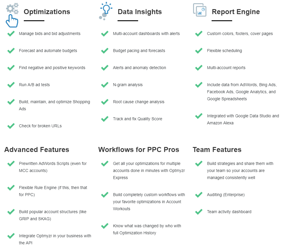 PPC software feature of optimyzr Google Ads tool