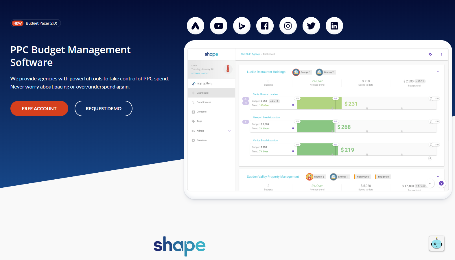 shape pay per click management tool for Google Adwords
