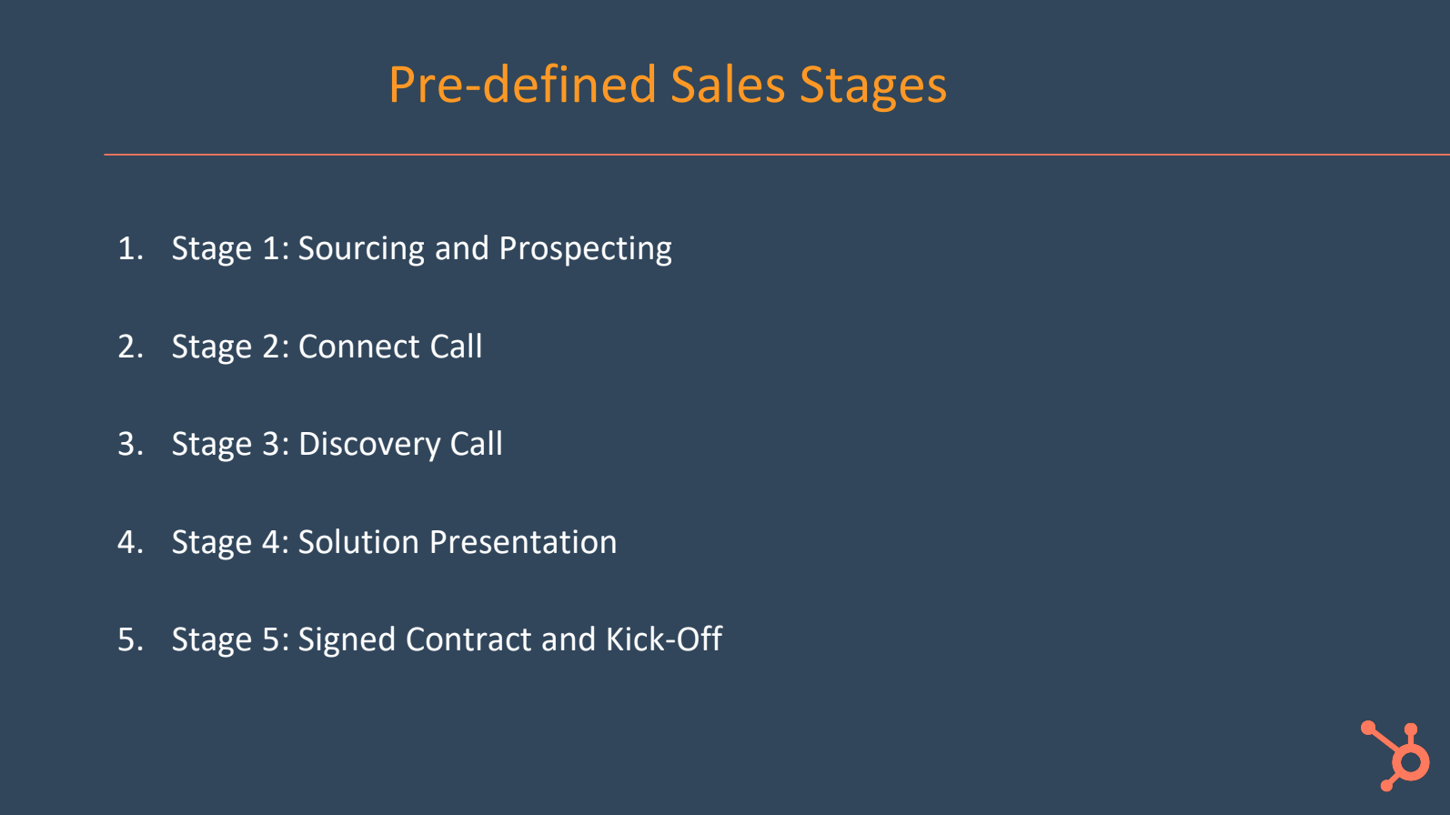 Pre-defined sales stages